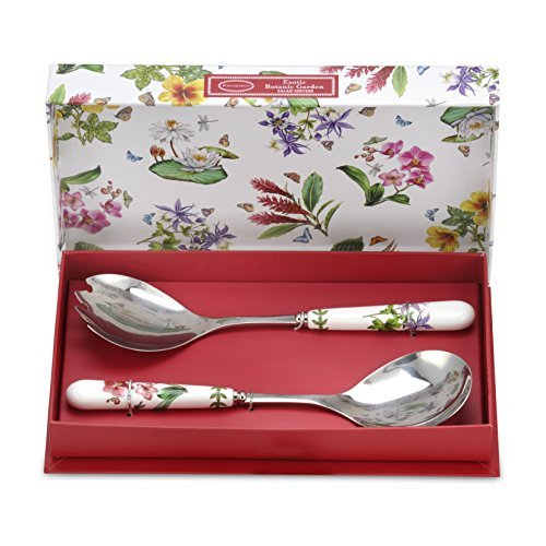 Portmeirion Exotic Botanic Garden Salad Servers, 10-Inch, Set of - Servers Ceramic Salad