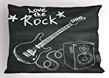 Ambesonne Guitar Pillow Sham, Love The Rock Music Themed Sketch Art Sound Box and Text on Chalkboard, Decorative Standard King Size Printed Pillowcase, 36 X 20 inches, Charcoal Grey White