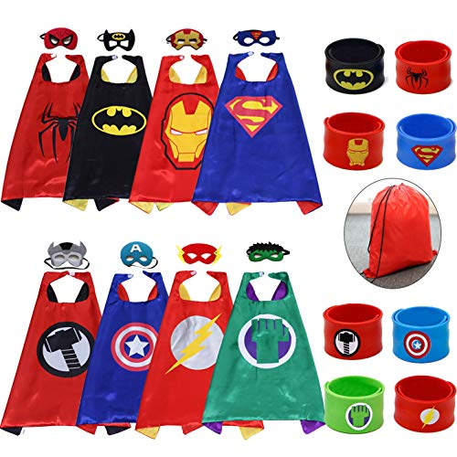 Kids Dress up Costumes Cartoon Capes Set with Masks Wristbands and a Bag for Party Boys Girls Birthday 8PCS for $<!--$32.58-->