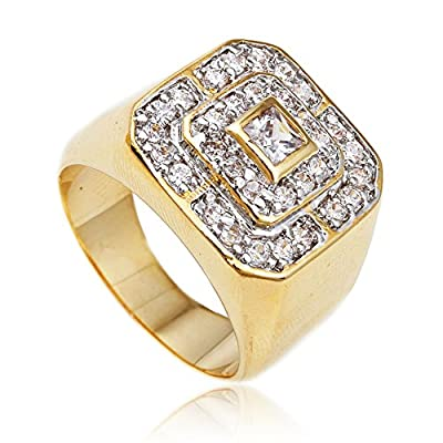 Men's Gold Cz Layered Squares Ring Sizes 7-17