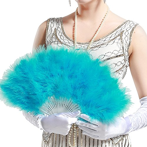 BABEYOND Roaring 20s Vintage Style Peacock & Black Marabou Feather Fan Flapper Accessories (Lake blue) (Fabulous Flapper Costume)