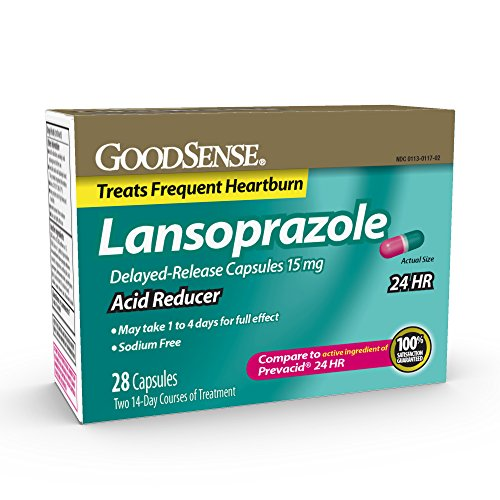 GoodSense Acid Reducer, Lansoprazole Delayed Release Capsules, 15 mg, 28 Count