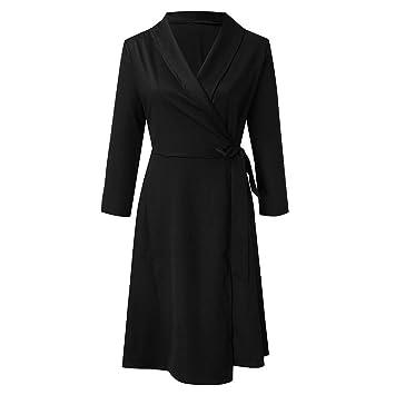ZODOF vestidos mujer vestido bohemio mujer Color sólid Cuello ...