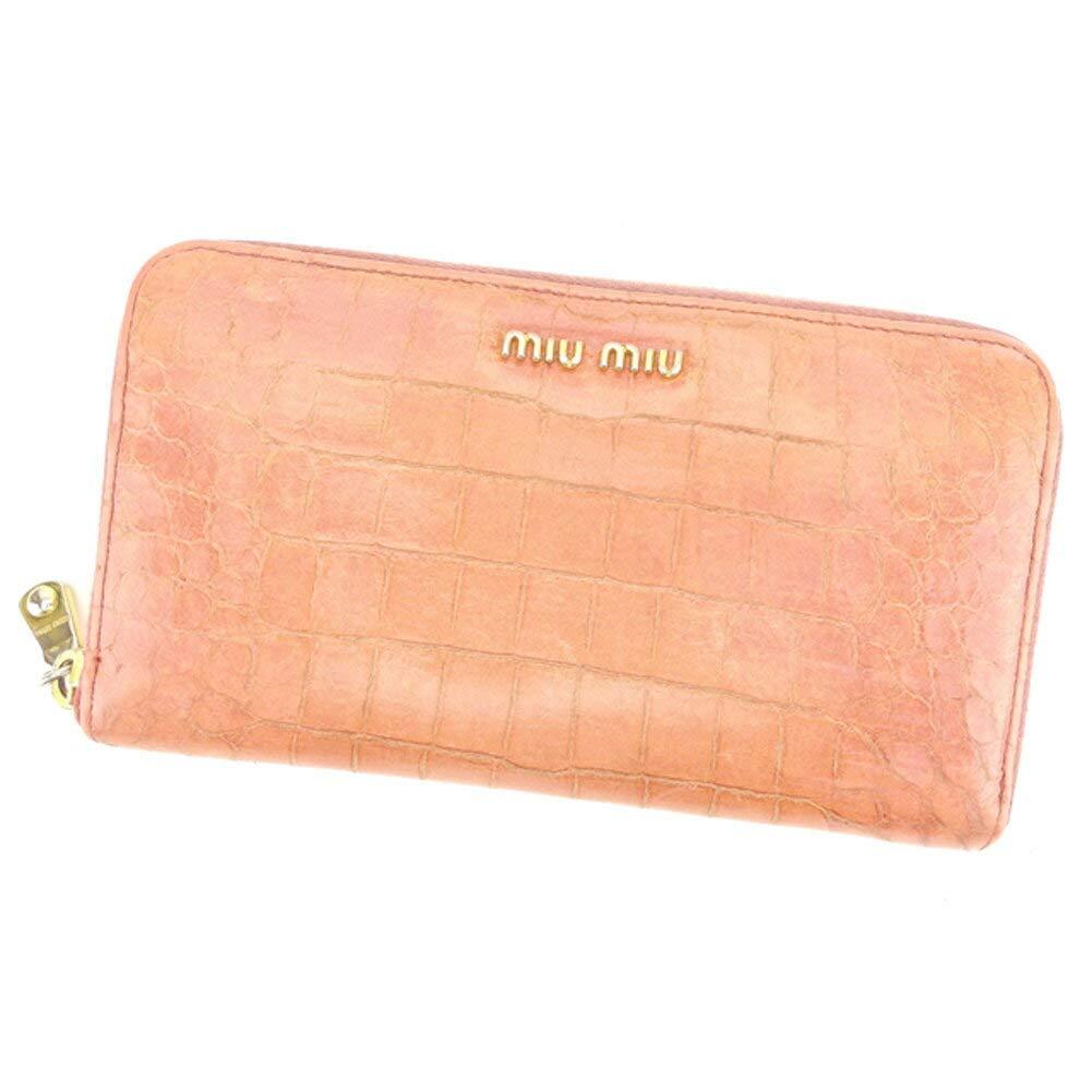 (ミュウミュウ) Miu Miu 長財布 ラウンドファスナー ピンク クロコダイル型押し レディース 中古 S891   B07HC5BSW1