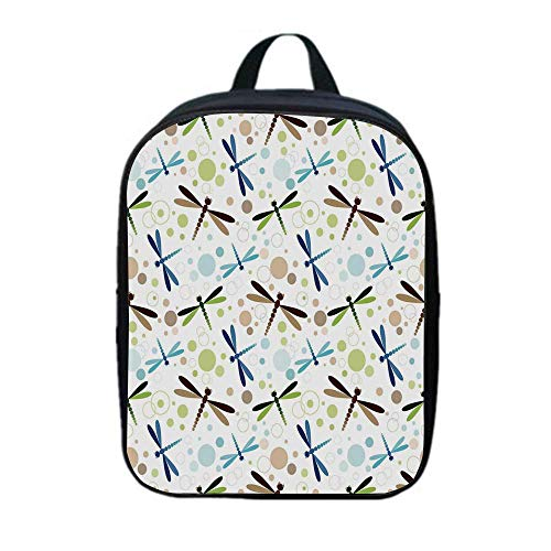 Dragonfly Canvas Backpack,Colorful Toned Flying Dragonflies Pattern with Bubbles and Circular Shapes Print Decorative for Playgrounds,One_Size (French Bronze Dragonfly Tea Lantern)