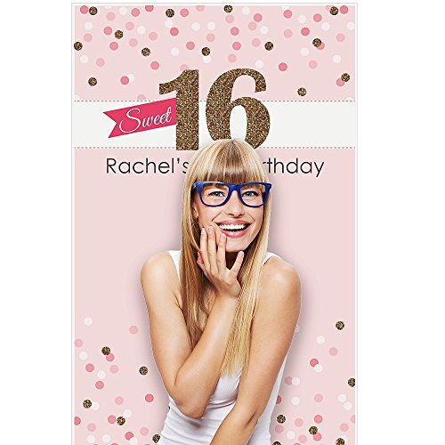 Personalized Photo Booth Backdrop (Custom Sweet 16 - Personalized 16th Birthday Party Photo Booth Backdrops - 36