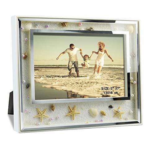 (Giftgarden 5x7 Picture Frame Elegant Ocean Beach Scene Glass Frames Desktop and Wall Decor for 7x5 Photograph)