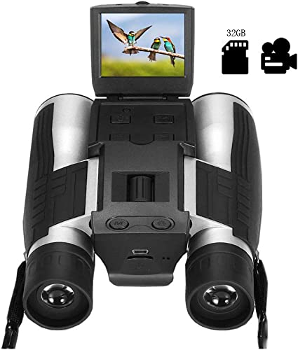 2 LCD Digital Binoculars with Camera for Adults, 12×32 5MP Video Photo Recoder with 32GB Memory Card for Bird Watching Hunting Concerts and Sports Games