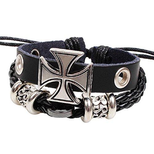Susenstone Fashion Cross Braided Wooden Bead Wrist Bracelet Leather Jewelry