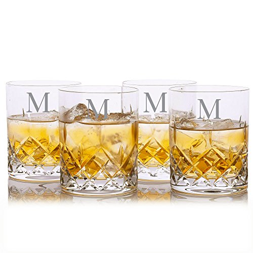 Custom Cut Crystal Whiskey Rocks Glass w/ Titanium 4pc. Set by Crystalize Engraved & Monogrammed (Custom 4 Piece Set) by Crystalize