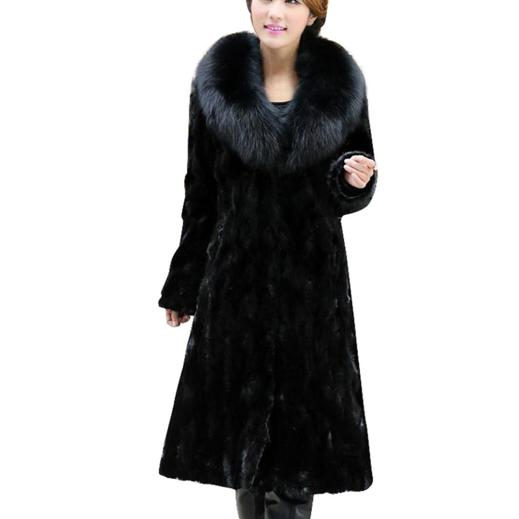 Sunward Women's Fashion Winter Warm Style Luxurious Faux Fur Coat Parka Outwear Cardigan (Black, 2XL)