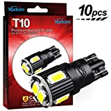Yorkim 194 LED Bulb Non-polarity Newest 7th Generation, Super Bright 6-SMD 5730 chipset T10 194 LED Bulbs, 168 LED Bulb, LED 2825 Bulb, W5W LED Bulbs for Car Interior lights, Pack of 10 - White