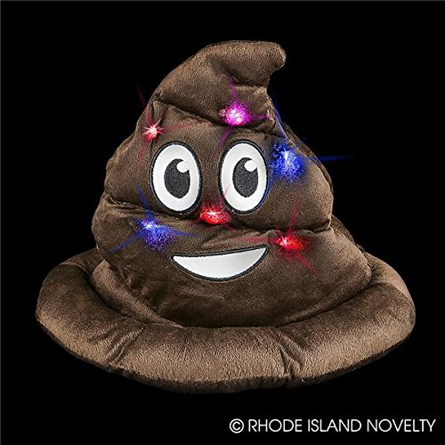 [Emoji Light Up Poop Hat Plush Emoticon Head Wear 12 Inches High] (A Present Costume)