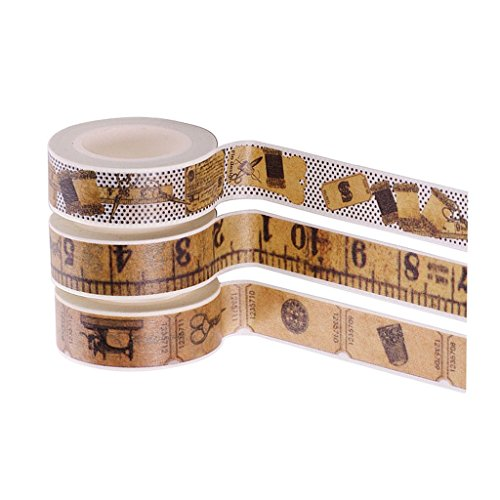Baoblaze 3 Rollos Cinta Adhesiva De Papel De Estilo Vintage Set Cinta Adhesiva De DIY Pegatinas Decorativas Etiqueta Engomada...