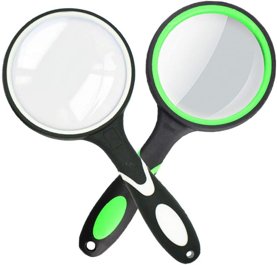 Lupa de lectura manual 10X para personas mayores y ni/ños lente de aumento engrosada con mango de goma antideslizante Blanco y verde ideal para leer impresiones peque/ñas y observaciones de hobby