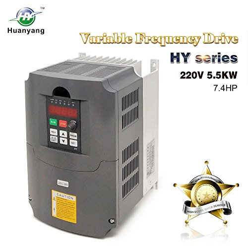 VFD 220V 5.5KW 7.5HP Variable Frequency Drive CNC Motor Inverter Converter for Spindle Motor Speed Control HUANYANG HY-Series 5.5KW, 220V
