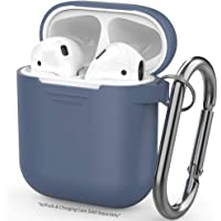 AhaStyle AirPods Case Cover Silicone Skin with Keychain for Apple AirPods(Navy Blue)