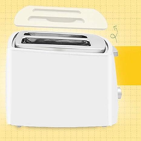 ... Completamente automático Casa Desayuno máquina, Bandeja desplegable, Ranura Ancha, Descongelación, 2 rebanadas Tostadoras, Tapa y Clip de Pan- Blanco: ...