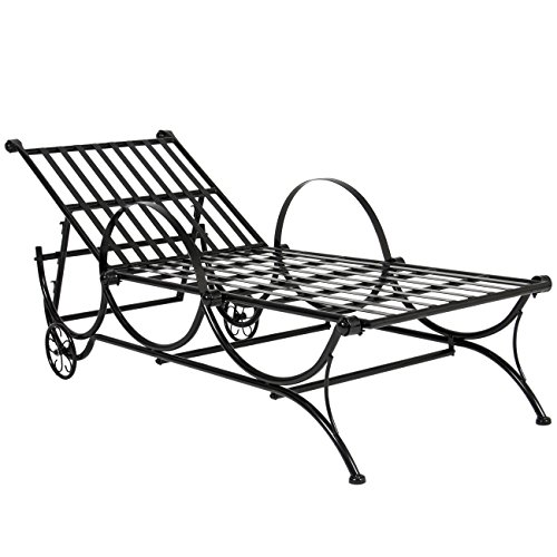 Best choice products black iron adjustable chaise lounge for Black metal chaise lounge outdoor