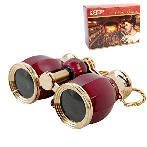 - HQRP Theater Glasses Binoculars Antique Style w/Crystal Clear Optic (CCO) Burgundy Pearl with Gold Trim w/Necklace Chain