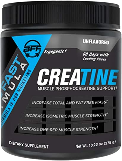 BFF Build Fast Formula Creatine 60 Day Supply with Loading Phase Increase Muscle Mass Increase One-Rep Muscle Strength Increase Muscular