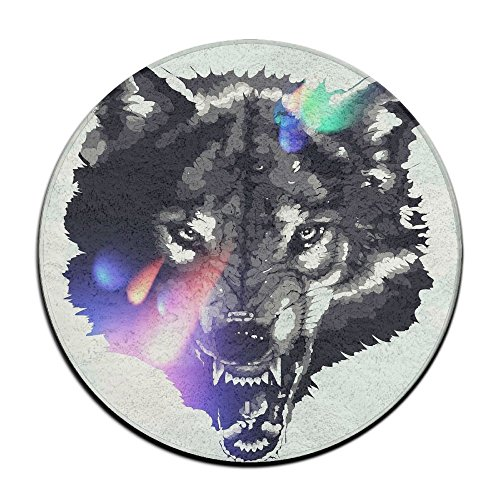 Laurel Non-Slip Round Rug Wolf Drawing Entrance Doormat Floor Pet Kids Mat Shoes Scraper Diameter 23.6 -