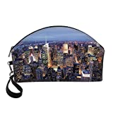 New York Small Portable Cosmetic Bag,Aerial View of NYC Full of Skyscrapers Manhattan Times Square Famous Cityscape Panorama For Women,One size
