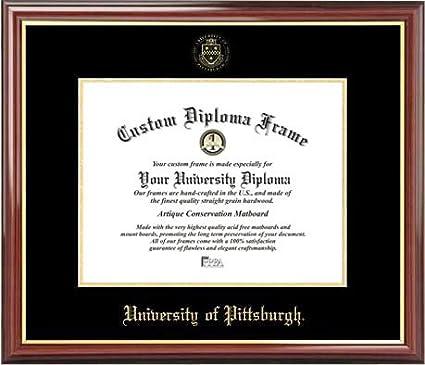 Diploma Frame Embossed Seal Mahogany Gold Trim Laminated Visuals University of Pittsburgh Panthers