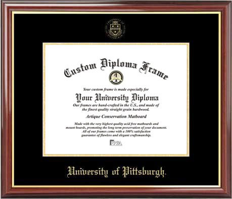 University of Pittsburgh Panthers - Embossed Seal - Mahogany Gold Trim - Diploma Frame