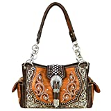 MW586-8085 Montana West Buckle Collection Satchel Handbag (Brown)