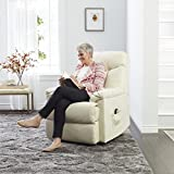 Wall Hugger Recliner Made From Elegant White Leather Upholstery w/ Padding For Added Comfort. Ideal For Small Spaces Place This Transitional Lounge Chair in Your Living Room Reading Nook or Den.