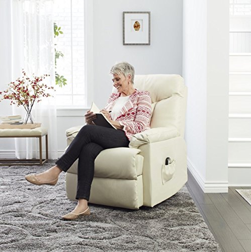 Wall Hugger Recliner Made From Elegant White Leather Upholstery w/ Padding For Added Comfort. Ideal For Small Spaces Place This Transitional Lounge Chair in Your Living Room Reading Nook or Den. (Comfortable Chairs For Small Spaces)