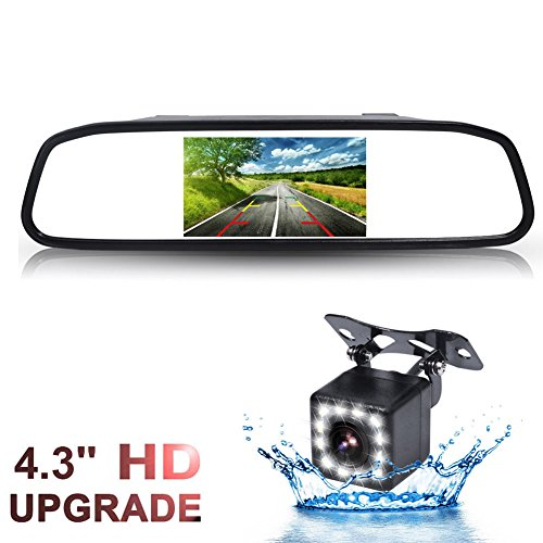 GSPSCN Backup Camera and Monitor Kit For Car,Waterproof 12 LEDs Light Night Vision Reverse Rear view Camera + TFT LCD 4.3 inch Rearview Mirror Monitor (Mirror with 12LED) (Tft Led)