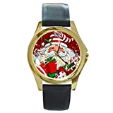 Christmas Modern Santa in a Striped Cap/Hat on a Womens or Girls Gold Tone Watch with Leather Band