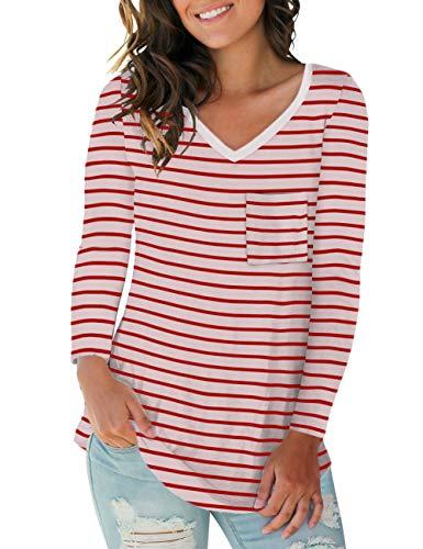 NIASHOT Women's Casual Long Sleeve T Shirt Solid Soft V-Neck Tee Tops