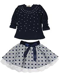 Kids Girl Cute 2PCS Diamond Clothing Set Long Sleeve Top +Dot Tutu Skirt