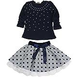 Jastore Kids Girl Cute 2PCS Diamond Clothing Set Long Sleeve Top +Dot Tutu Skirt (3T)