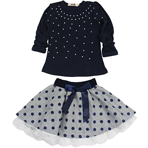 Jastore Kids Girl Cute 2PCS Diamond Clothing Set Long Sleeve Top +Dot Tutu Skirt (7T) 7 Diamonds Clothes