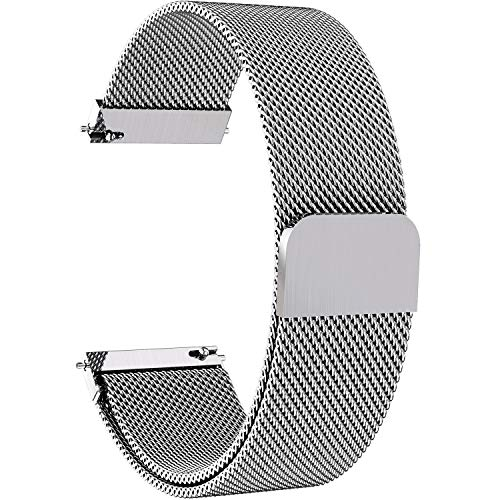 7 Colors for Quick Release Watch Strap, Fullmosa Milanese Magnetic Closure Stainless Steel Watch Band Replacement Strap for 20mm Silver