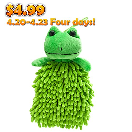 Meirun Cartoon Cleaning Dust Cloth,Microfiber Hand Wash Towel with Hang Rope Multipurpose (Spin Frog)