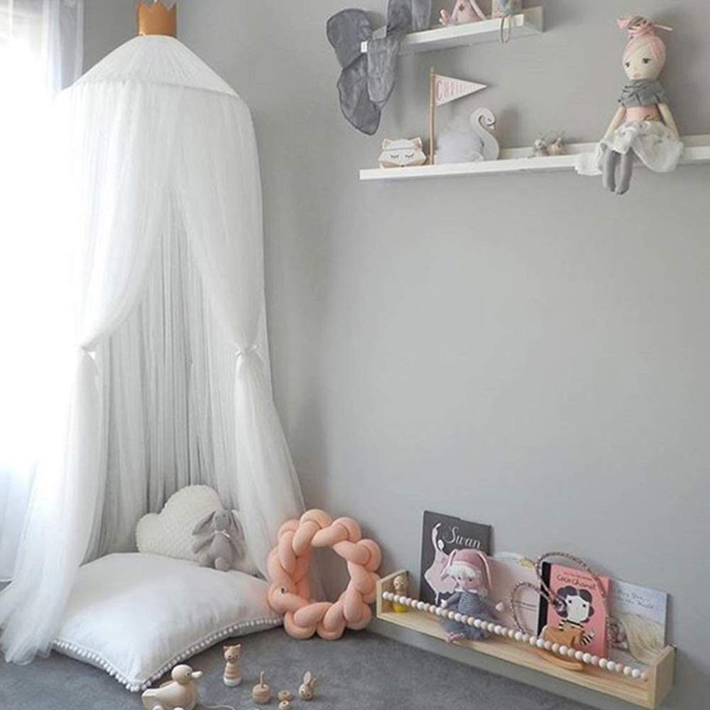 Hoomall Mosquito Net Bed Canopy Round Lace Dome Princess Play Tent Bedding for Baby Kids Children's Room 240cm (White 2019)