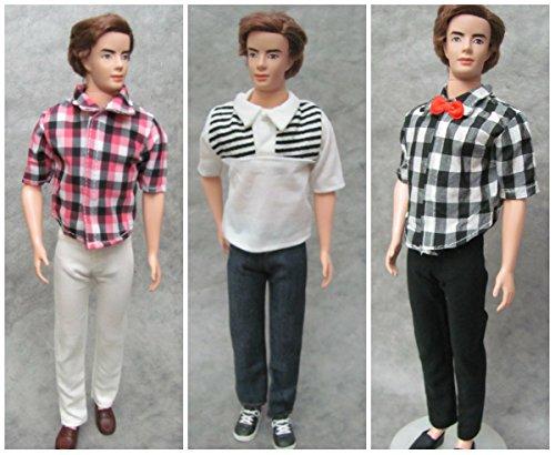 HelloJoy 3 Sets Casual Wear Plaid Doll Clothes Jacket Pants Outfits for Ken Barbie Dolls -