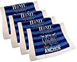 Capes Treasures Summertime Nautical 100% Cotton Dish Towels - Set of 4 (Stripes Home is Where You Drop Anchor)