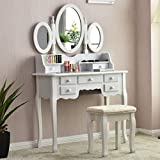 Giantex Bathroom Vanity Set Tri-folding Mirror Soft Padded Bench with 7 Drawer 2 Dividers Make-up Dressing Table Vanity Table Set (White)
