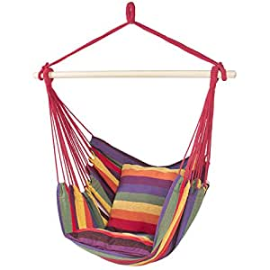 Best ChoiceProducts Hammock Hanging Rope Chair Porch Swing Seat Patio Camping Portable, Red Stripe