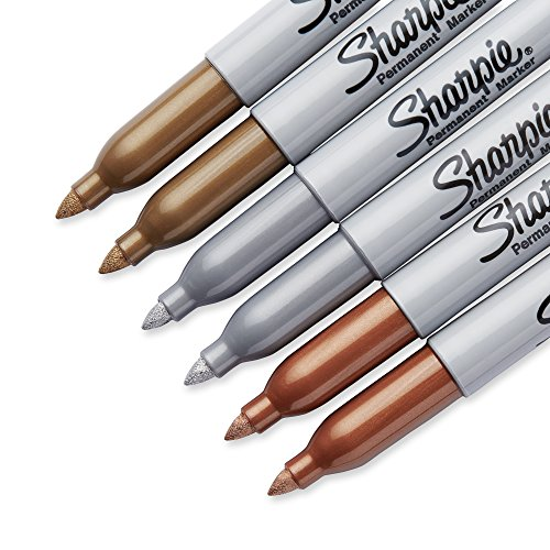 Sharpie 1829201 Metallic Permanent Markers, Fine Point, Assorted Colors, 6-count