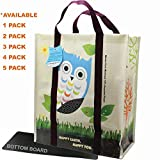 EcoJeannie (2 Pack) Super Strong X-Large Laminated Woven Reusable Shopping Tote Bag (Avail: Set of 1,2,3,4,5 Bags), Free Standing, Recycled Plastic w/ Bottom Board & Reinforced Nylon Handle - WTS021