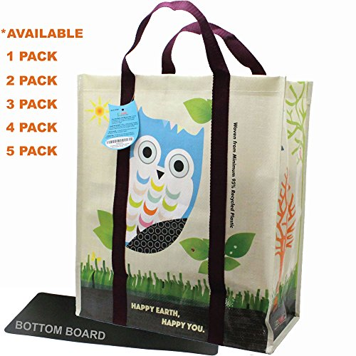 Recycled Reinforced - EcoJeannie 5 pack Super Strong X-Large Laminated Woven Reusable Shopping Tote Bag (Avail: Set of 1,2,3,4,5 Bags), Free Standing, Recycled Plastic w/Bottom Board & Reinforced Nylon Handle - WTS051