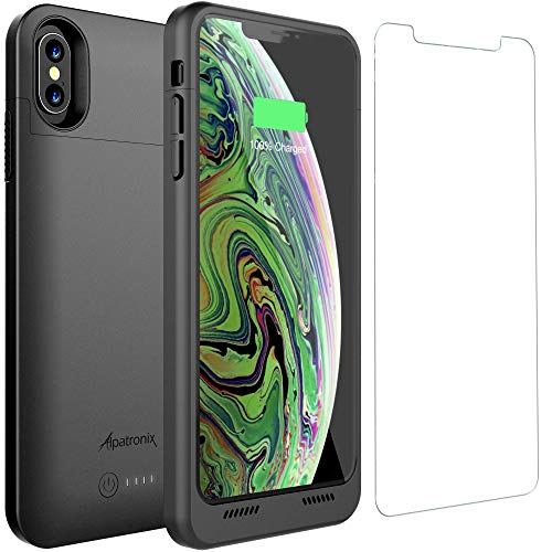 iPhone XS Max Battery Case Qi Wireless Charging Compatible, Alpatronix BXXt Max 6.5-inch 3500mAh Ultra Slim Portable Rechargeable Protective Charger for iPhone XS Max Juice Bank Power Case - Black