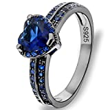 EVER FAITH Black Sterling Silver 925 Luxury CZ Love Heart Cut Cocktail Ring Sapphire Color - Size 8